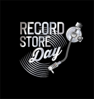 Retro vinyl record store day background collection