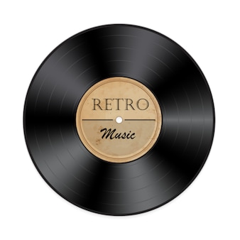 Retro vinyl record on white