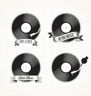 Retro vinyl records badges