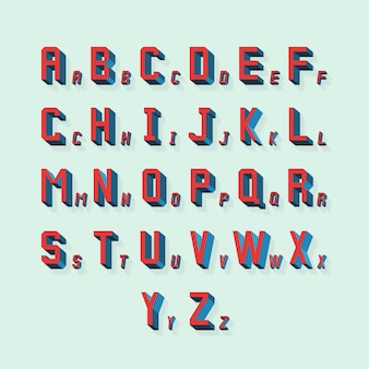Retro volumetric 3d alphabet