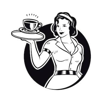 コーヒーのクリップアートを提供するレトロなウェイトレス