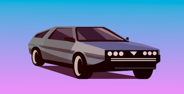 Retro wave car in 80s style. vector retrowave illustration.