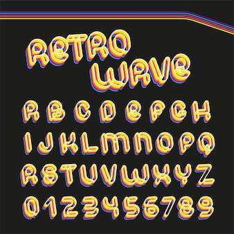 レトロな波のフォント。 70〜80年代の麻酔の手紙。レイヤードスタイルのベクトルアルファベット。