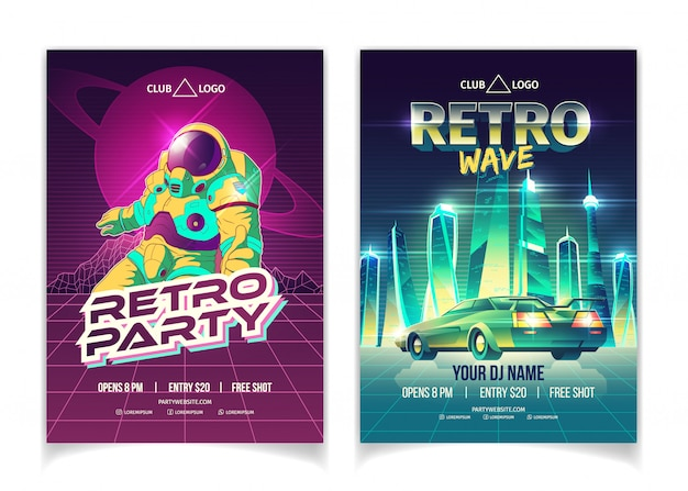 Retro wave music party in nightclub cartoon  ad poster