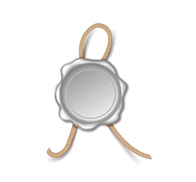 ロイヤルレター、ポスト、またはプライバシー証明書の保証用のレトロなワックスシールは、サイン用の空きスペースがあり、現実的です。白い背景で隔離。図