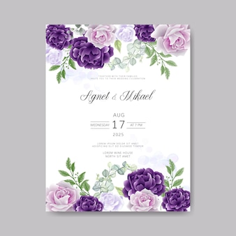 Retro wedding invitation cards with beautiful floral