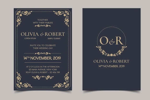 Retro wedding invitation on dark background