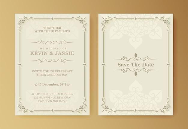Ретро свадебное приглашение на белом фоне