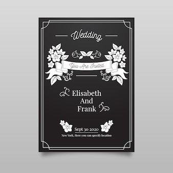 Retro wedding invitation template on blackboard
