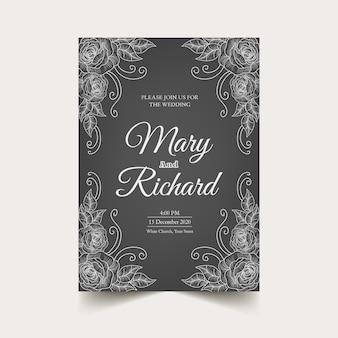 Retro wedding invitation template on blackboard