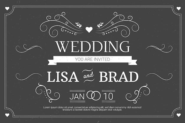 黒板にレトロな結婚式の招待状のテンプレート 無料ベクター