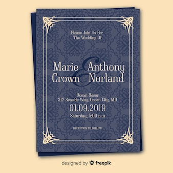 Retro wedding invitation template with ornaments