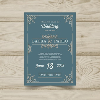Retro wedding invitation template