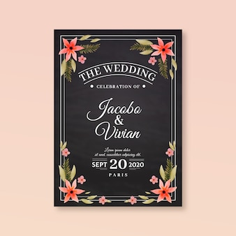 Retro wedding invitation with flowers