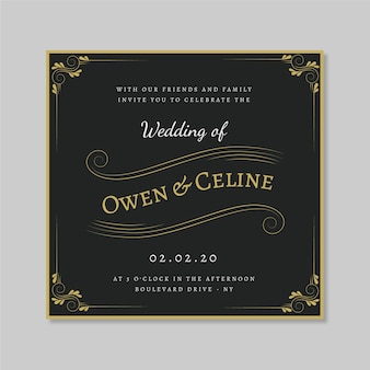 Retro wedding invitation with golden ornaments