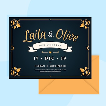 Retro wedding invitation with lovely lettering