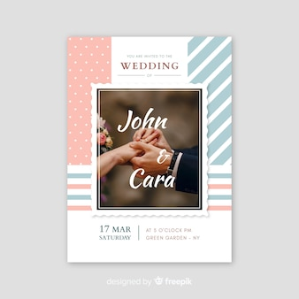 Retro wedding invitation with photo template