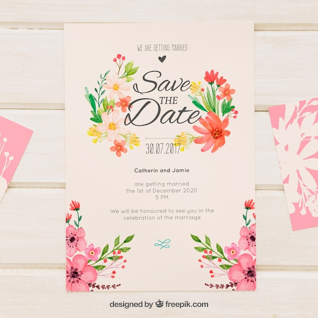 Free Retro wedding invitation with watercolor flowers SVG