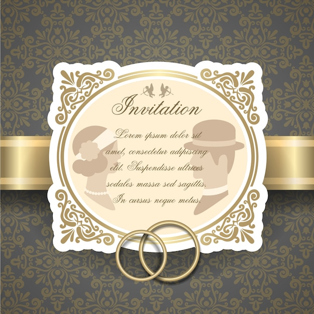 レトロな結婚式の招待状