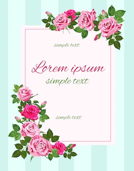 Retro wedding invitations with pink roses