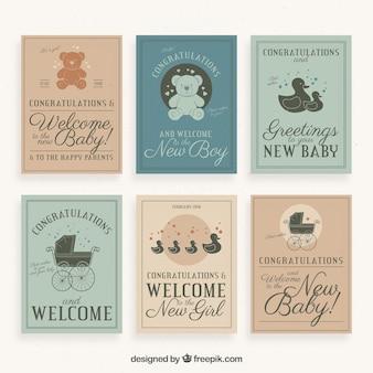レトロ歓迎赤ちゃんグリーティングカードコレクション