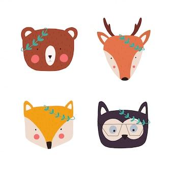 お祝いのためのレトロな冬のクリスマス動物の頭