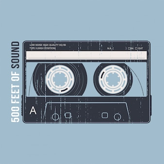 Retro  with a cassette tape. tshirt and apparel