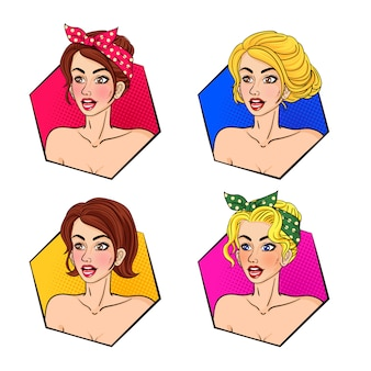 Retro woman hair and face pop art collection