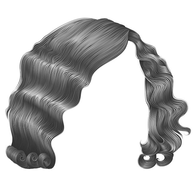 Ретро женщина волосы каре серого цвета.