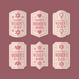 Retro women's day badge collection