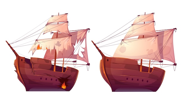 Retro wooden ships with white sail cartoon