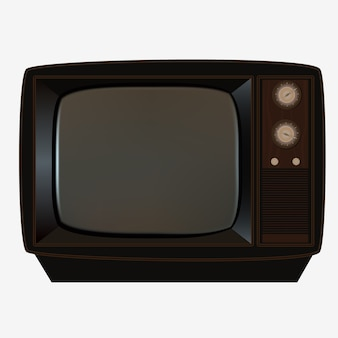Retro wooden tv set with small transparent glass screen   illustration