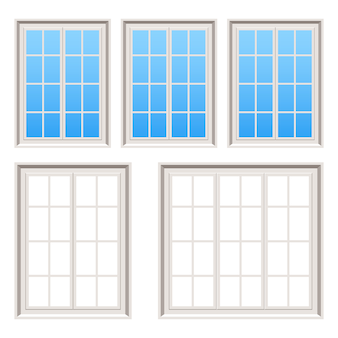 Retro wooden windows   illustration on white background