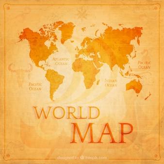 オレンジ色のレトロな世界地図