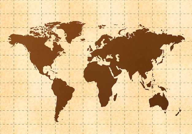 Retro world map on old paper with texture