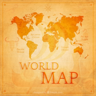 Retro world map in orange tones