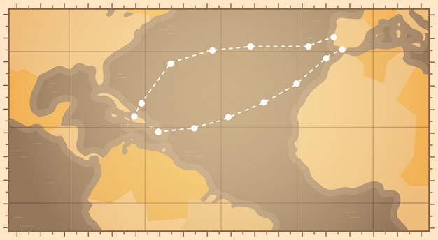 Retro world map with columbus route happy colombo day national usa holiday concept