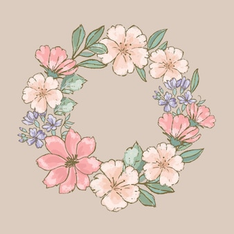 Retro wreath floral flower hand drawn