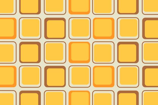レトロな黄色の背景、幾何学的な正方形の形のベクトル