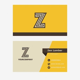 Retro yellow business card with z letter