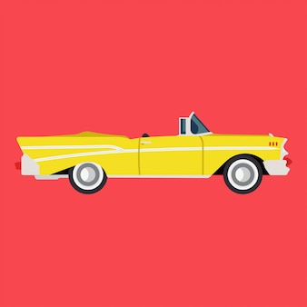 Retro yellow car side view flat icon auto. classic vehicle illustration