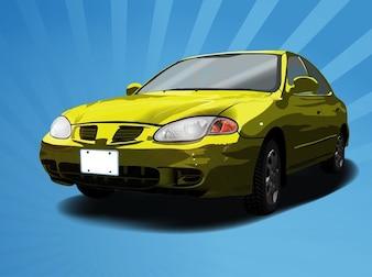 Retro yellow car vector vehicle