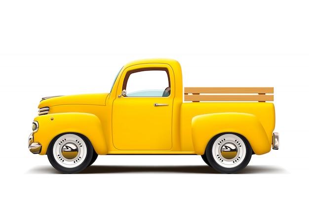 Retro yellow pickup