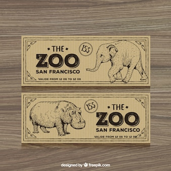 Retro zoo tickets with hand drawn elephant and hippotamus