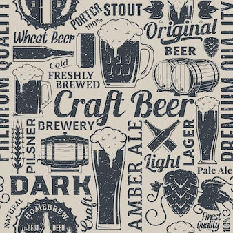 Retrostyled typographic vector beer seamless pattern or background