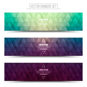 Retrowave 3d vector retro web banners set