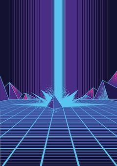 Retrowave background illustration