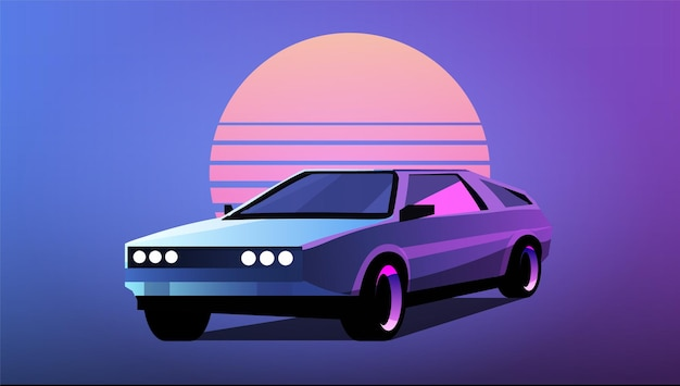 縞模様の太陽のイラストを背景に80年代のレトロウェーブ車
