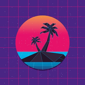 Retrowave of island with palms