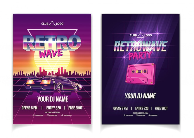 Retrowave party, electronic music of 80s, dj performance in nightclub cartoon  ad poster, promo flyer and poster